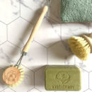 wooden dish brush with spare head, our dish soap and the reusable sponge